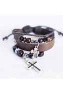 """Кожаный браслет """" Два креста"""" (женский)"""