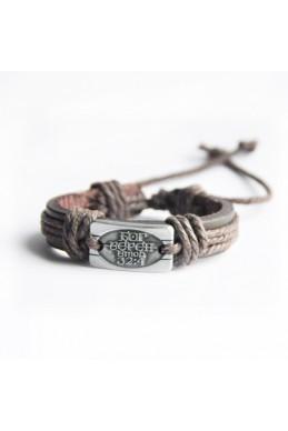 "Кожаный браслет ""Бог верен"""