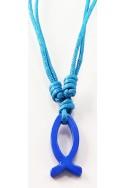 Кулон «Рыбка голубая, полая», металл, голубой шнур