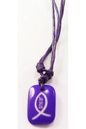 Кулон «Рыбка-Jesus», фиолет.прямоугольник, пластик, фиолет. шнур