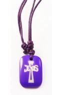 Кулон «Крест-Jesus», фиолет.прямоугольник, пластик, фиолет.шнур