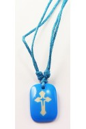 Кулон «Крест», голуб.прямоугольник, пластик, голуб.шнур