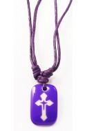 Кулон «Крест», фиолет.прямоугольник, пластик, фиолет.шнур