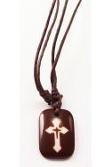 Кулон «Крест», корич.прямоугольник, пластик, корич.шнур