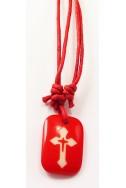 Кулон «Крест», красн.прямоугольник, пластик, красн.шнур