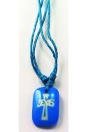 Кулон «Крест-Jesus», голуб.прямоугольник, пластик, голуб.шнур