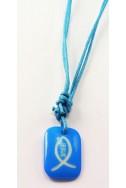 Кулон «Рыбка-Jesus», голуб.прямоугольник, пластик, голуб.шнур