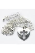 """Христианский кулон """"Сердце с высеченным крестом"""""""